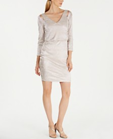 Calvin Klein Metallic Split-Shoulder Blouson Dress