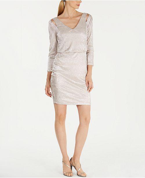 Calvin Klein Metallic Split-Shoulder Blouson Dress
