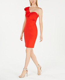 Calvin Klein Ruffled One-Shoulder Dress
