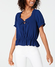 Ultra Flirt Ruffled Tie-Neck Top