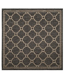 """Safavieh Courtyard Natural and Black 6'7"""" x 6'7"""" Square Area Rug"""
