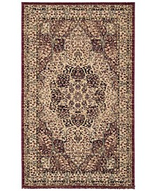 Lavar Kerman Creme and Red 3' x 5' Area Rug