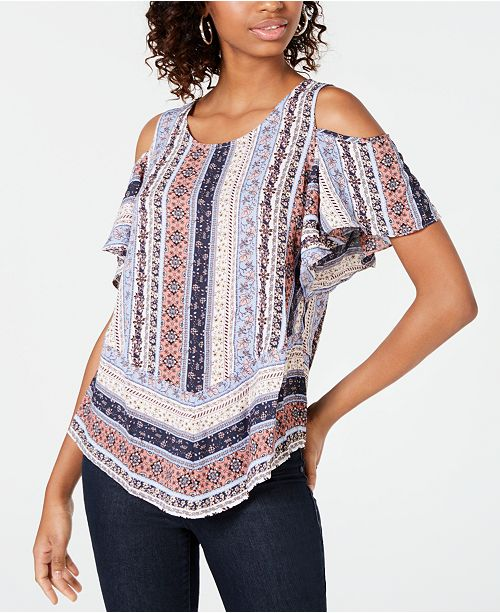 BCX Cold-Shoulder Print Top
