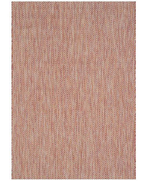 """Safavieh Courtyard Red and Beige 6'7"""" x 9'6"""" Area Rug"""