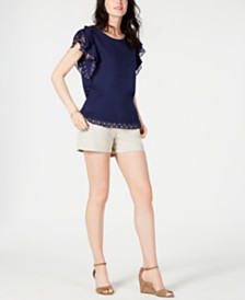 Maison Jules Flutter-Sleeve Top & Flat-Front Chino Shorts, Created for Macy's