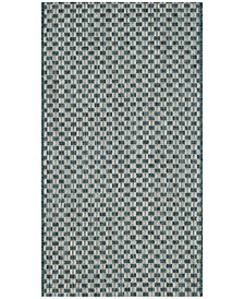 """Courtyard Turquoise and Light Gray 2' x 3'7"""" Sisal Weave Area Rug"""