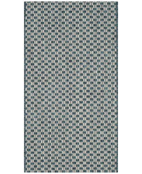 "Safavieh Courtyard Turquoise and Light Gray 2' x 3'7"" Sisal Weave Area Rug"