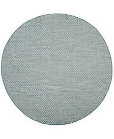 """Courtyard Light Blue and Light Gray 6'7"""" x 6'7"""" Sisal Weave Round Area Rug"""