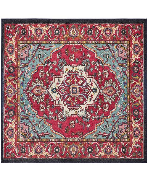 Safavieh Monaco Red and Turquoise 5' x 5' Square Area Rug