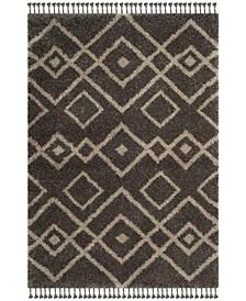 Moroccan Fringe Shag Gray and Cream 4' X 6' Area Rug