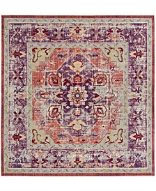 "Claremont Purple and Coral 6'7"" x 6'7"" Square Area Rug"