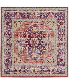 "Safavieh Claremont Purple and Coral 6'7"" x 6'7"" Square Area Rug"