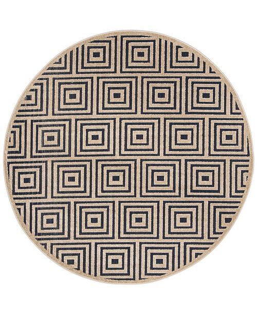 "Safavieh Cottage Navy and Creme 6'7"" x 6'7"" Round Area Rug"