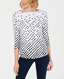 Charter Club Pima Cotton  Button-Shoulder Print Top, Created  for Macy's