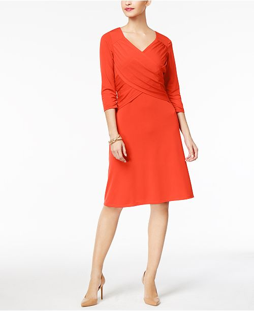NY Collection Petite Cross-Front Dress