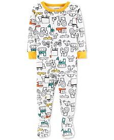 Baby Boys 1-Pc. Construction-Print Cotton Footed Pajamas