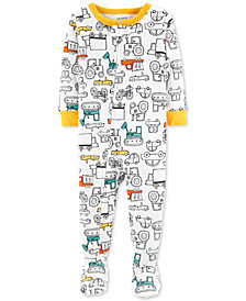 Carter's Baby Boys 1-Pc. Construction-Print Cotton Footed Pajamas