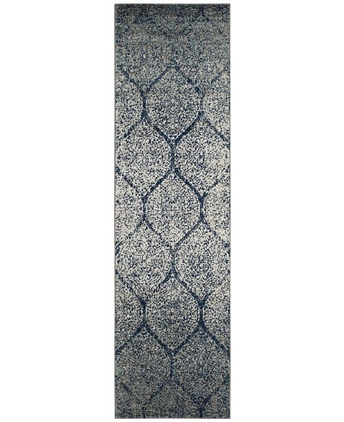 """Safavieh Madison Navy and Silver 2'3"""" x 6' Runner Area Rug"""