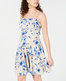 City Studios Juniors' Floral Tie-Back Fit & Flare Dress