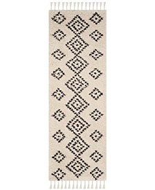 """Moroccan Fringe Shag Cream and Charcoal 2'3"""" X 11' Runner Area Rug"""