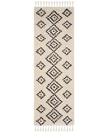"Safavieh Moroccan Fringe Shag Cream and Charcoal 2'3"" X 11' Runner Area Rug"