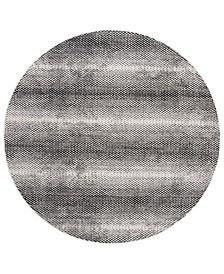 "Lurex Black and Ivory 6'7"" x 6'7"" Round Area Rug"