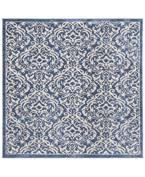 """Safavieh Brentwood Navy and Creme 6'7"""" x 6'7"""" Square Area Rug"""