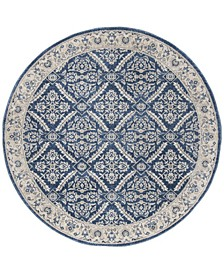"""Brentwood Navy and Creme 6'7"""" x 6'7"""" Round Area Rug"""