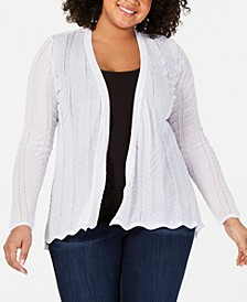 Plus Size High-Low Open-Front Cardigan