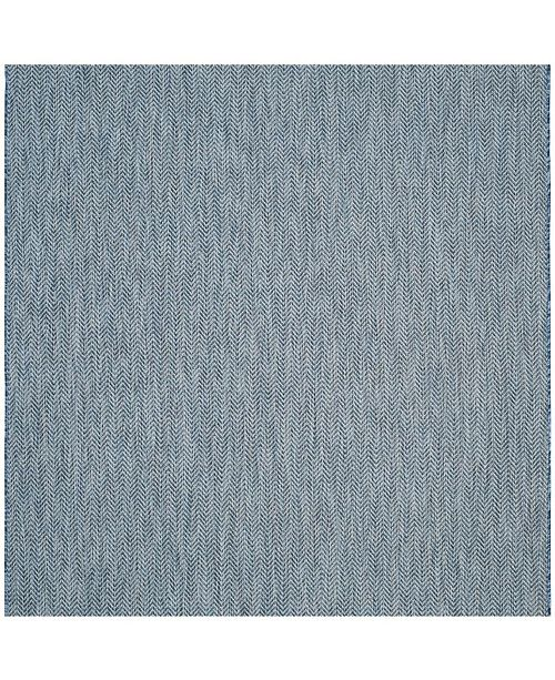 """Safavieh Courtyard Navy and Gray 5'3"""" x 5'3"""" Sisal Weave Square Area Rug"""