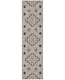 "Safavieh Courtyard Grey and Black 2'3"" x 6'7"" Runner Area Rug"