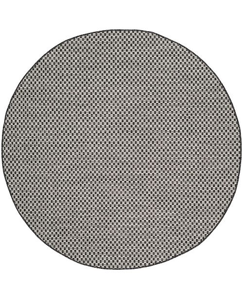 "Safavieh Courtyard Black and Light Gray 5'3"" x 5'3"" Sisal Weave Round Area Rug"