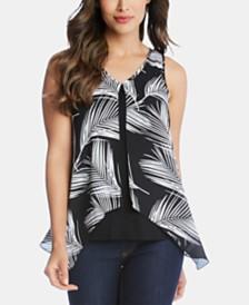 Karen Kane Palm-Print Layered-Look Top