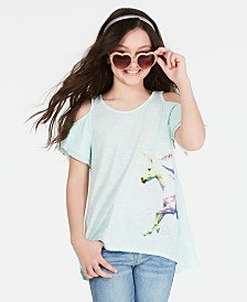 Epic Threads Big Girls Unicorn-Print Cold Shoulder T-Shirt, Created for Macy's