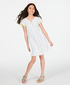 Epic Threads Little Girls Cotton Tassel-Trim Peasant Dress, Created for Macy's