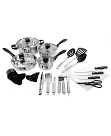 30 Piece Total Kitchen Cookware and Kitchen Tool Combo Set