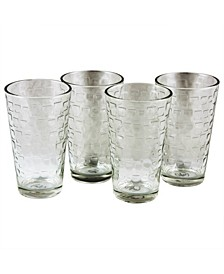 4 Piece 13 Ounce Double Old Fashioned Glass Set, Bubbles Pattern