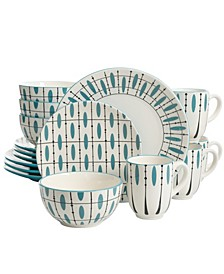 16 Piece Dinnerware Set Hand Painted in Durastone