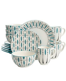 Luminescent 16 Piece Dinnerware Set Hand Painted in Durastone