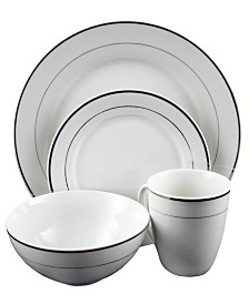 Palladine 16 Piece Dinnerware Double Platinum Banded Set