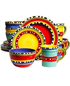 16 Piece Mix and Match Dinnerware Set, Hand Painted Durastone