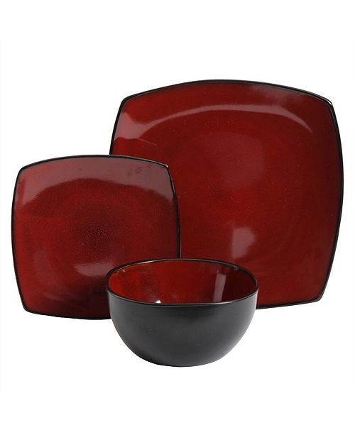 Soho Lounge 12 Piece Soft Square Dinnerware Set
