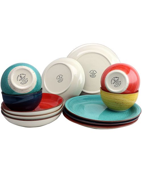 Color Speckle 12 Piece Mix And Match Double Bowl Dinnerware Set Amp Reviews Dinnerware Dining
