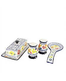 Luxembourg 4 Piece Ceramic Accessory Set Hand Painted Stoneware
