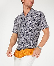 Men's Jaffar Print Camp Collar Silk Shirt, Created for Macy's