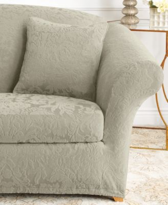 Stretch Sofa Jacquard Damask 2-Piece Sofa Slipcover