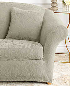 Sure Fit Stretch Jacquard Damask 2-Piece Loveseat Slipcover