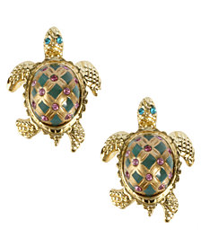 Betsey Johnson Gold-Tone Turtle Stud Earrings