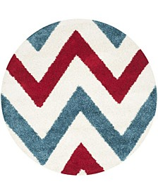"""Shag Kids Ivory and Red 6'7"""" x 6'7"""" Round Area Rug"""