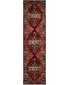 "Vintage Hamadan Red and Multi 2'2"" x 14' Runner Area Rug"